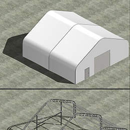 Engineering rendering for custom clearspan fabric structure
